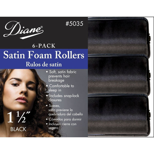 "Diane 1 1/2"" Satin Foam Rollers 6-Pack #5035"