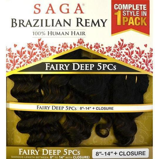 Saga Brazilian Remy 100% Human Hair Weave – Fairy Deep 5 PCS