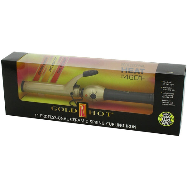 "Gold 'N Hot 1"" Professional Ceramic Spring Curling Iron #GH2149"