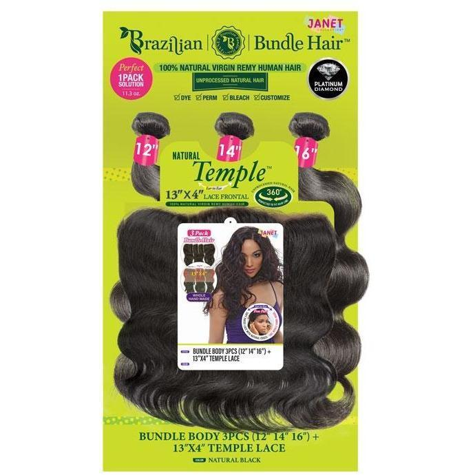 "Janet Collection 100% Natural Virgin Remy Human Hair Weave & Closure – Bundle Body 3PCS + 13"" x 4"" Temple Lace"