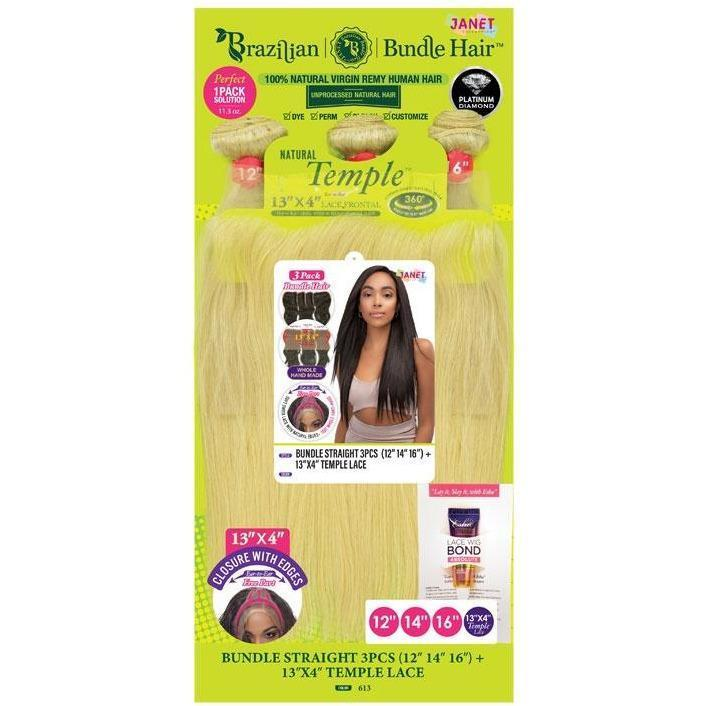 "Janet Collection 100% Natural Virgin Remy Human Hair Weave & Closure – Bundle Straight 3PCS + 13"" x 4"" Temple Lace"