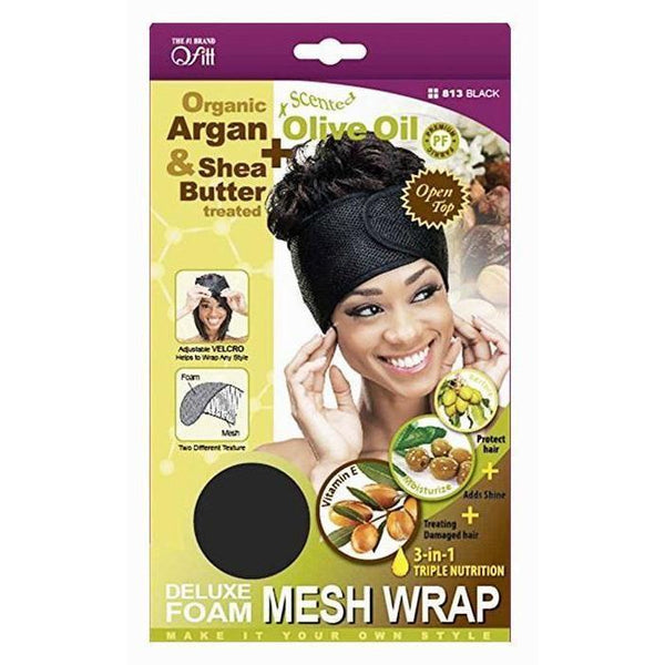 M&M Headgear Qfitt Argan Oil & Shea Butter Treated Deluxe Foam Mesh Wrap, Black #813
