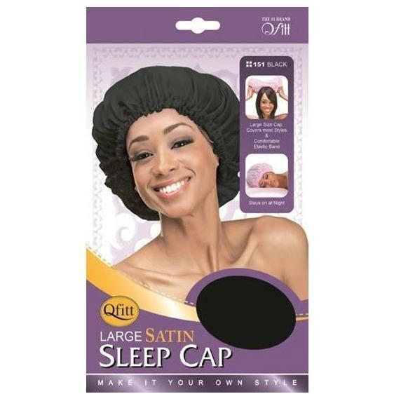 M&M Headgear Qfitt Large Satin Sleep Cap Black #151