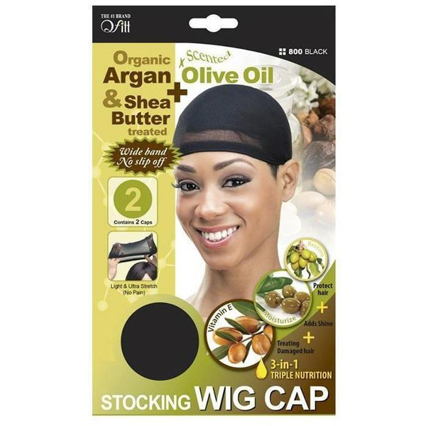 M&M Headgear Qfitt Wig Cap w/ Olive Oil & Tea-Tree Oil, Black #800