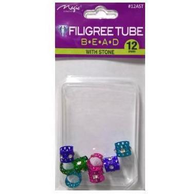 Magic Collection 12MM Assorted Color Filigree Tube With Stone