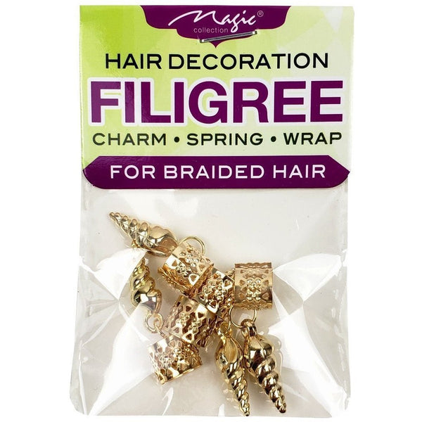 Magic Collection Filigree Tube With Metal Shell Spiral, Gold #FILICHA12