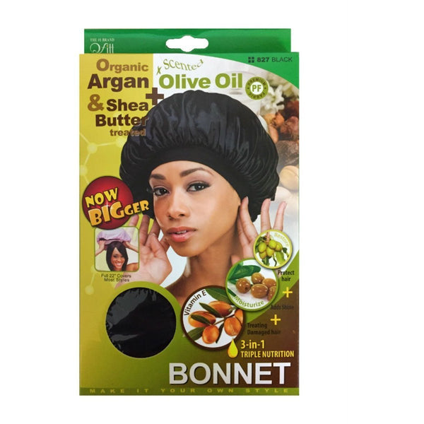 M&M Headgear Qfitt Bonnet Argan, Olive Oil & Shea Butter Treated, Black #827