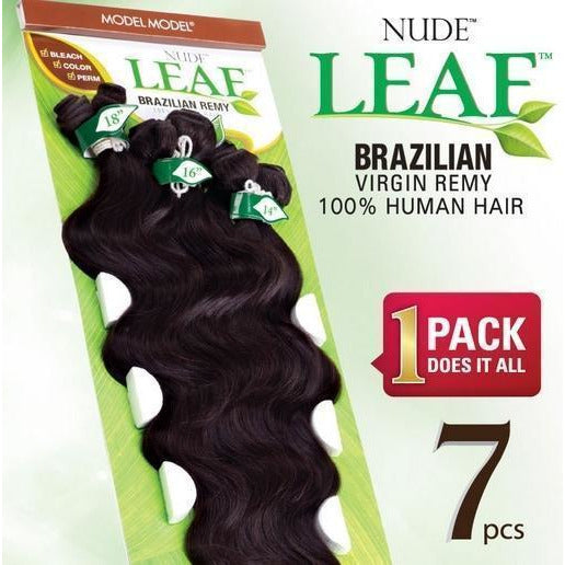 "Model Model Nude Leaf Brazilian Remy Weave – Natural Body Wave 7 PCS (14"", 16"", 18"")"