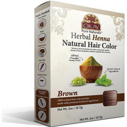 Okay Herbal Henna Natural Hair Color – Brown 2 OZ