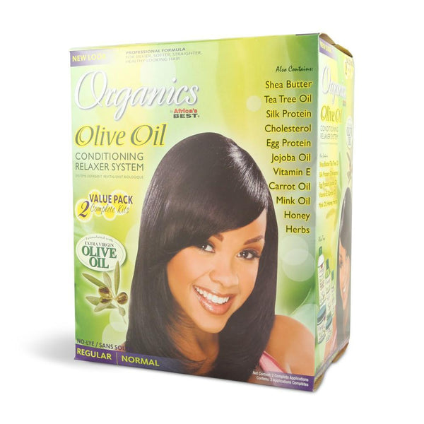 Africa's Best Organics Olive Oil Conditioning Relaxer System Regular - 2 App Kit
