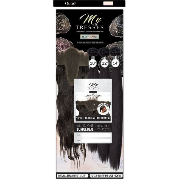 "Outre MyTresses Black Label Unprocessed Human Hair 13"" x 4"" Lace Frontal Bundle Weave – Natural Straight"