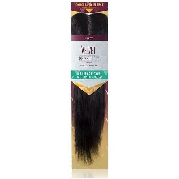 Outre Velvet Brazilian 100% Human Hair Lace Parting Piece Weave – Natural Yaki 14""