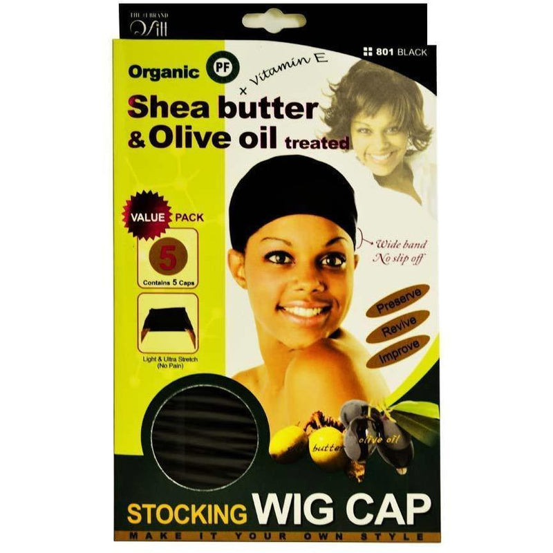M&M Headgear Qfitt Wig Cap w/  Shea Butter & Olive Oil 5 pc, Black