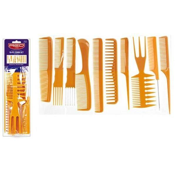 Red by Kiss Professional 10-Piece Comb Set Bone #CMB25