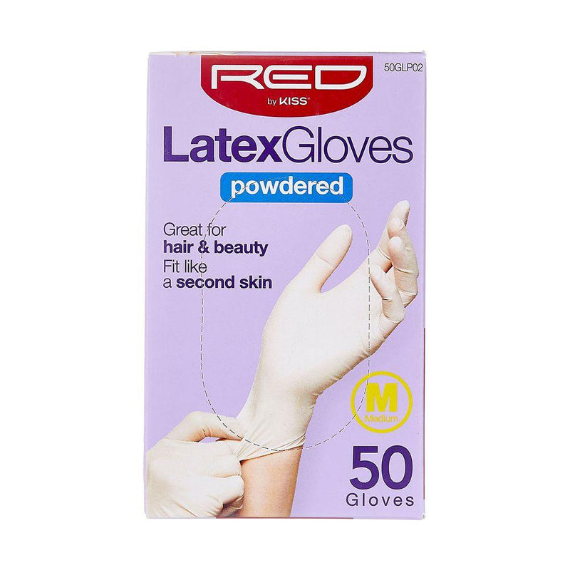 RED By Kiss Powdered Latex Gloves - Medium 50CT