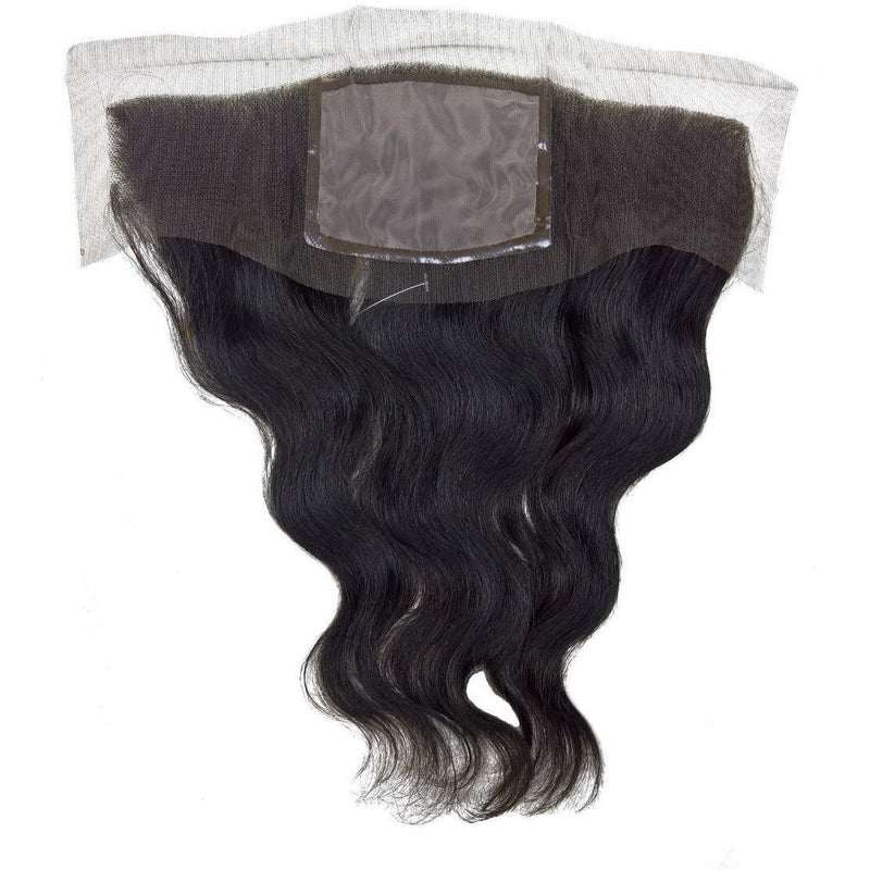 "Sensationnel Bare & Natural 100% Brazilian Remi Silk Full Lace Coverall Front Piece 11.5""x 3.5"" Weave Closure – Wavy 12"""