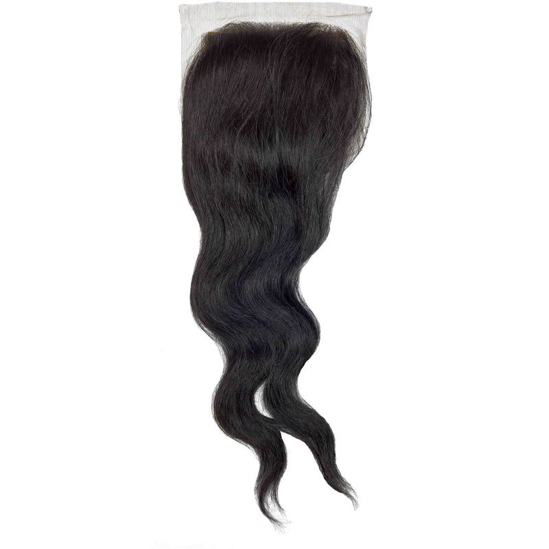 "Sensationnel Bare & Natural 100% Brazilian Remi Silk Full Lace Top Piece 4""x 4"" Weave Closure – Wavy 12"""