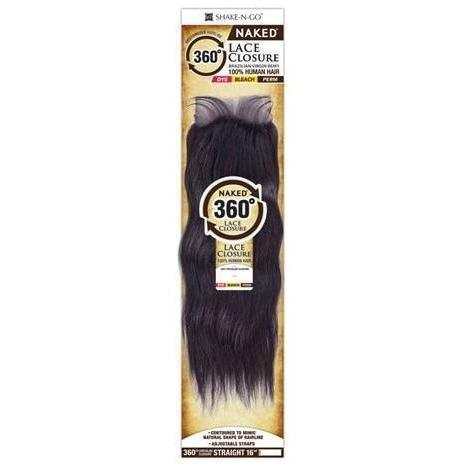 Shake-N-Go 100% Human Hair Naked Brazilian Virgin Remy 360° Circular Lace Closure – Straight 16""