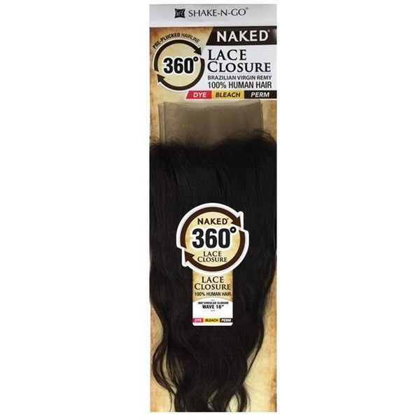 Shake-N-Go 100% Human Hair Naked Brazilian Virgin Remy 360° Circular Lace Closure – Wave 16""