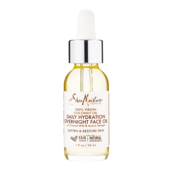 Shea Moisture 100% Virgin Coconut Oil Daily Hydration Overnight Face Oil 1 OZ