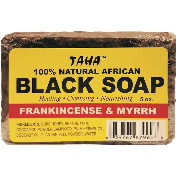 Taha 100% Natural African Black Soap Frankincense & Myrrh 5 OZ