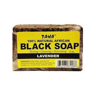 Taha 100% Natural African Black Soap Lavender 5 OZ