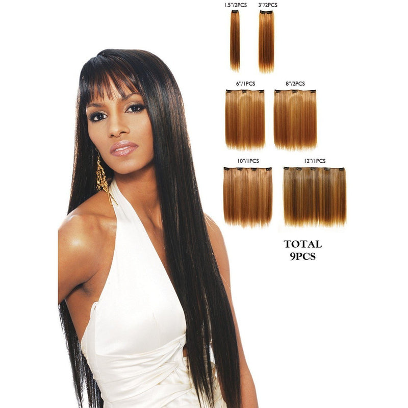Vivica A. Fox Synthetic Clip-In Extensions – 9 PCS