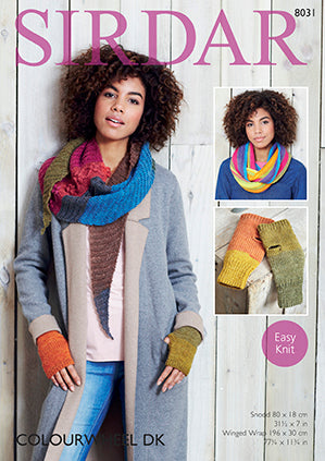 Sirdar Pattern #8031 Snood, Winge Wrap & Mitts - Knit - Yarn Hoppers