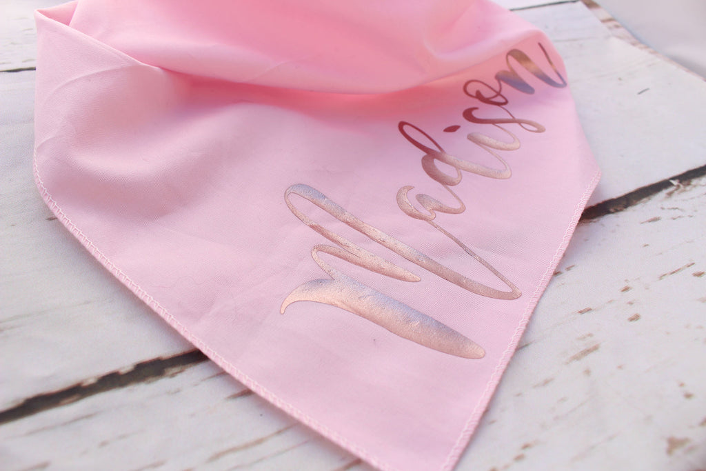 Pink Rose Gold Personalised Dog Bandana