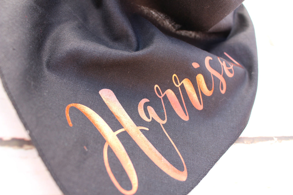 Black Copper Gold Personalised Dog Bandana