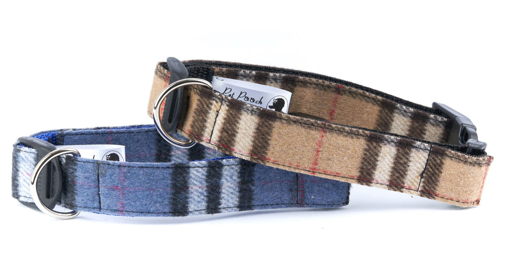 Blue Slate Wool Tweed Dog Collar