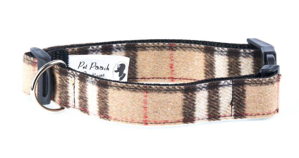 Brown Chestnut Wool Tweed Dog Collar