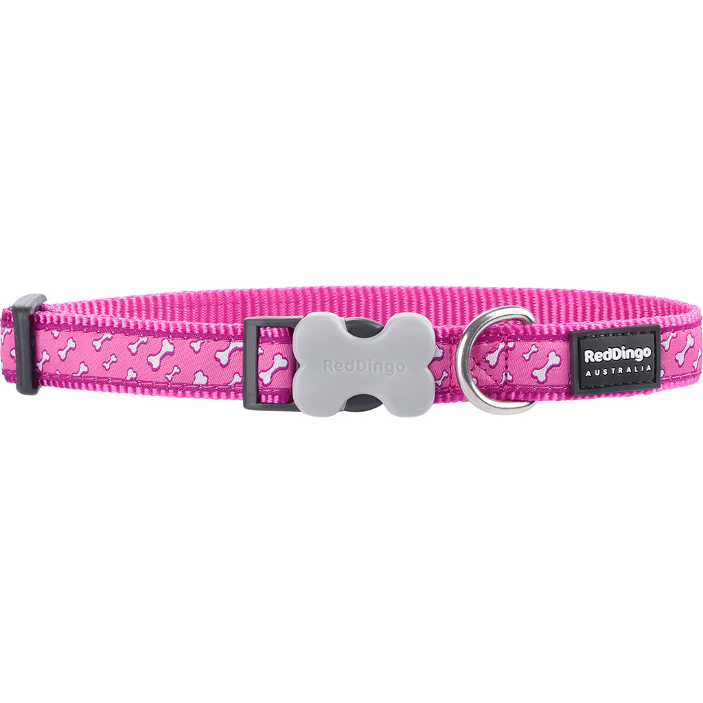 Pink Flying Bones Red Dingo Dog Collar