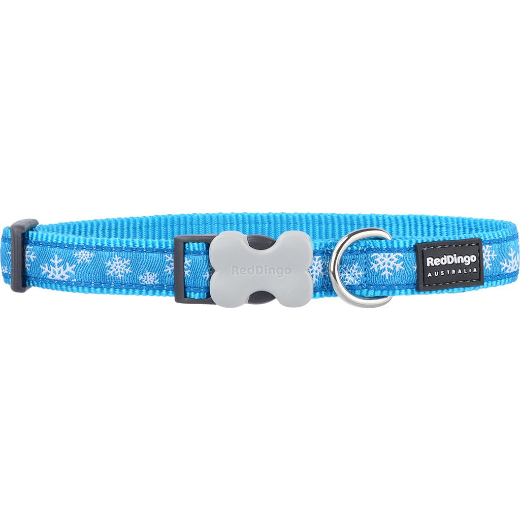Blue Winter Snowflake Red Dingo Dog Collar - Dog Collar