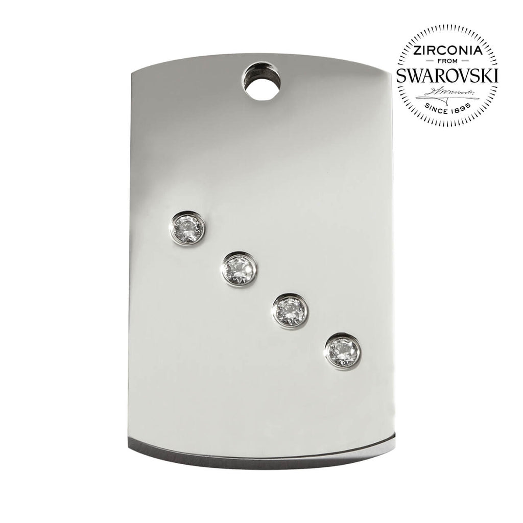 Swarovski Zirconia Rectangle Dog Id Tag - Small - Id Tags
