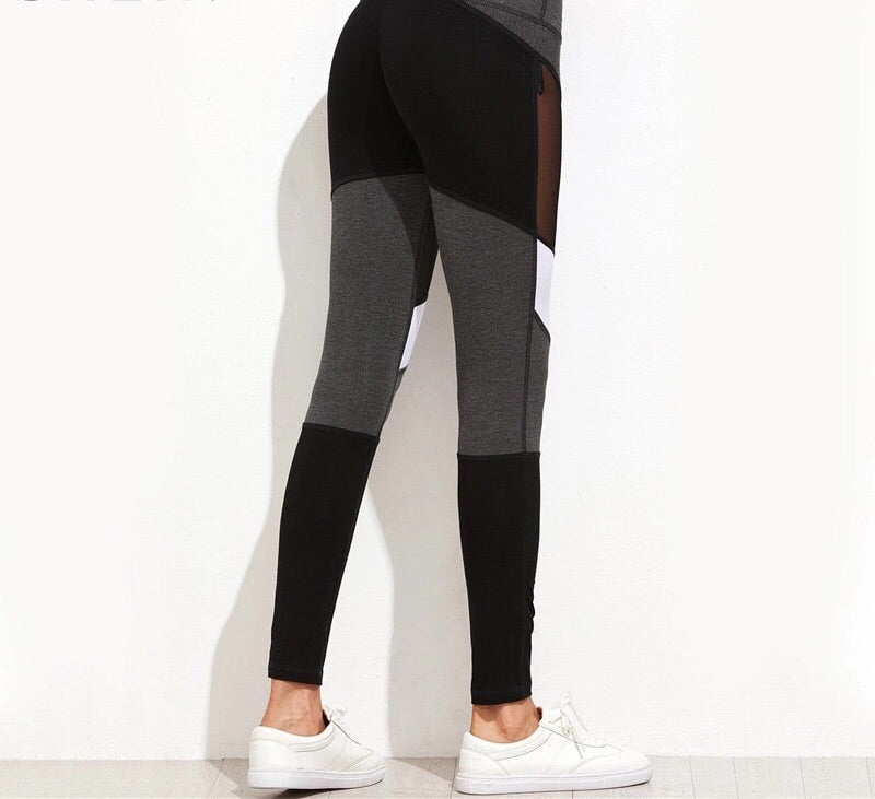 Black Color Block Mesh Insert Leggings