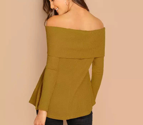 Ginger Foldover Front Off Shoulder Top