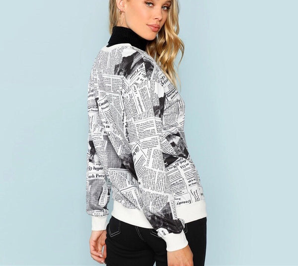 Black and White Newspaper Print Sweatshirt