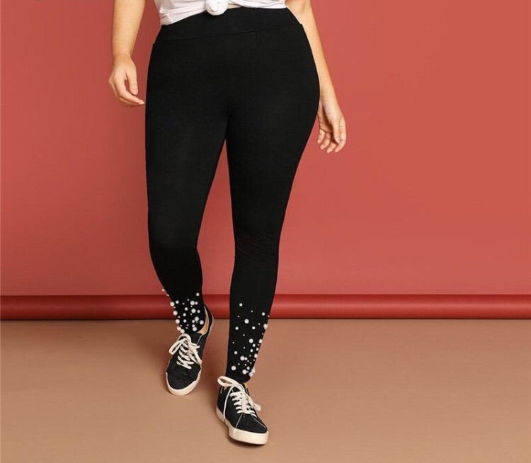 Plus Size Black Pearl Beaded Leggings