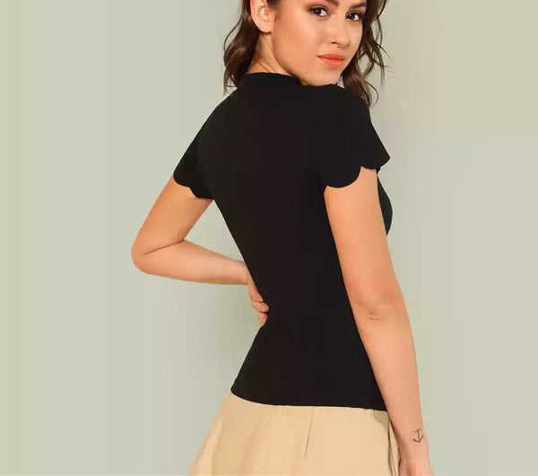 Black Scallop Trim Minimalist Top - Short Sleeve