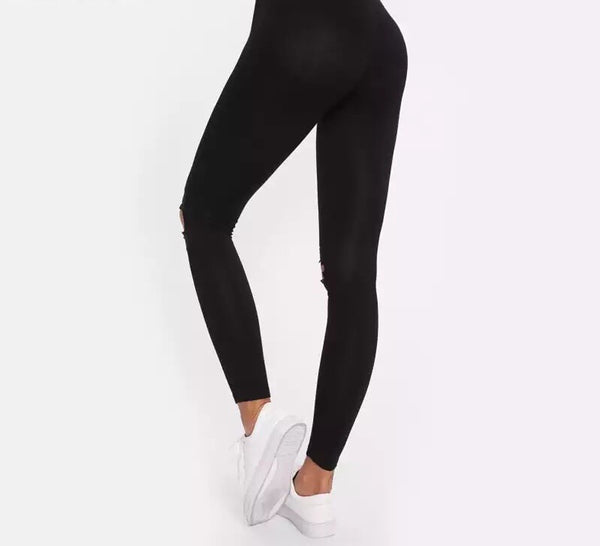 Black Knee Cut Out Lace Leggings