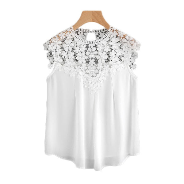 White Daisy Lace Shoulder  Blouse