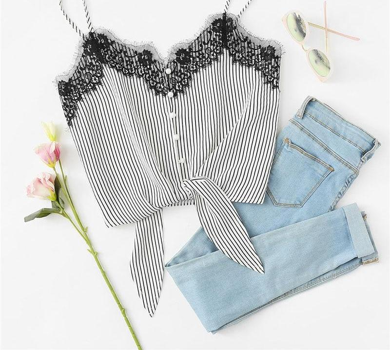 Lace Knot Front Striped Crop Top