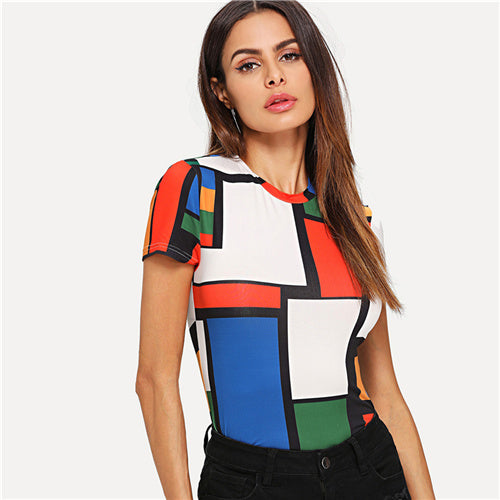 Multicolor Geometric Print Color Block Slim Fit Top