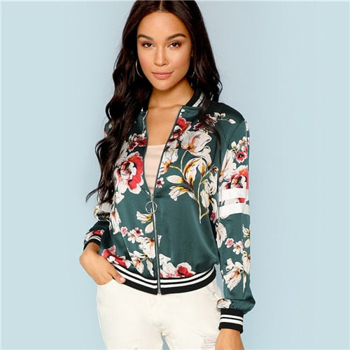 Green Multicolor Floral Bomber Jacket