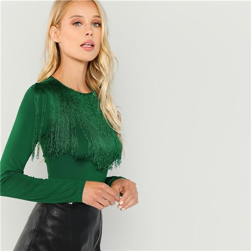 Green Slim Fit Fringe Top