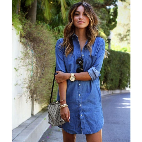 Denim Slim Shirt Dress
