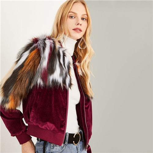 Colorful Faux Fur Zipper Coat