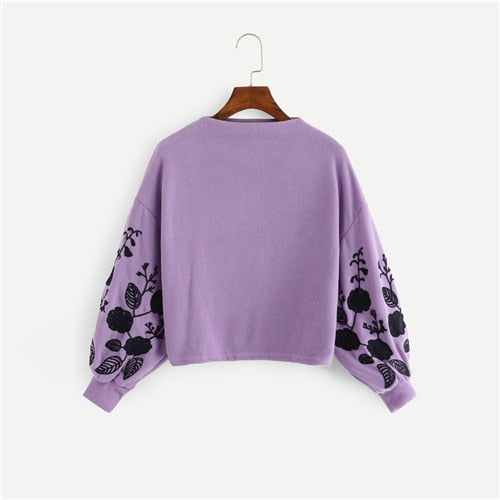 Elegant Floral Embroidered Sweatshirt