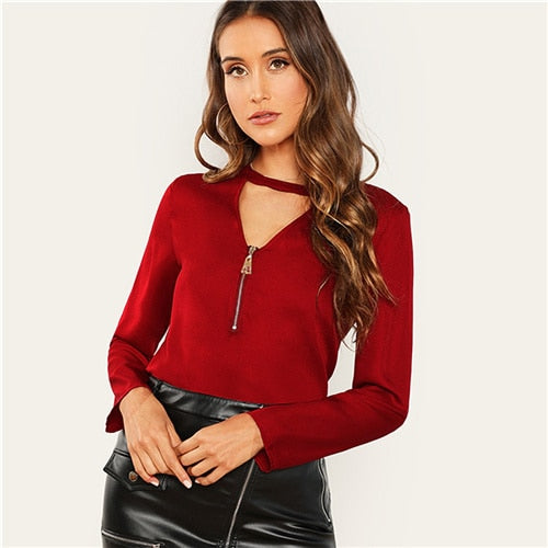 Burgundy Zip Front Blouse